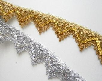 Paillettenband elastisch silber 30mm breit 4.50 EUR//Meter