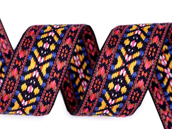 NEU Ethno Webband,Aztekisch Folklore 38 mm Indianisch,Boho,Hippie,Multicolor