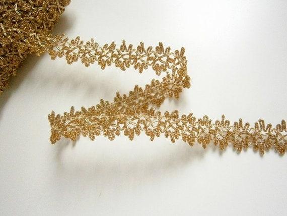 2m //9 Meter spitze PAILLETTEN BORTE Creme Gold 2,5cm Nähen neue mode Elegant