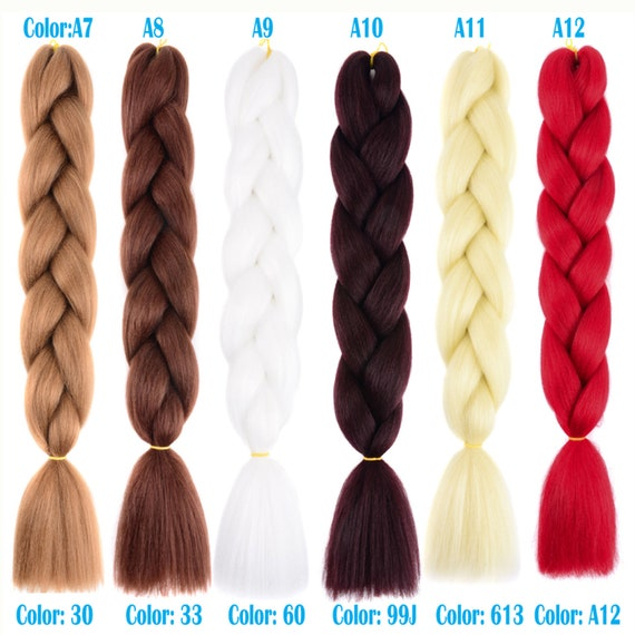 Buy 10 Get 12 Pieces Color C1~C26 of 120 Colors High Quality Jumbo Braiding Hair 24 inch Jumbo Braids Ombre Synthetic Fiber Hair Extensions