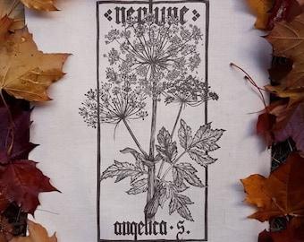 Neptune-Angelica silvestris Archangelica PLANHERBARIUM linocut Print