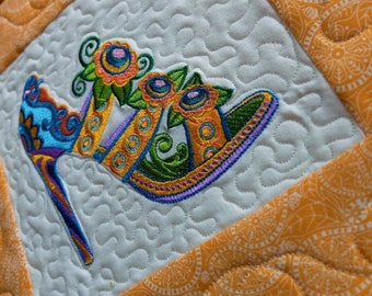Embroidered fancy shoe placemat, art quilt, candle mat, colourful embroidered shoe