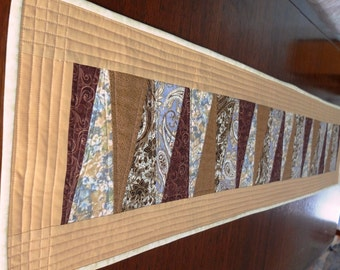 Brown/cream/blue long patchwork quilted table runner, bar top runner, man cave table topper