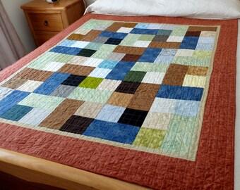 Masculine modern lap quilt, patchwork quilt for a boy or man, brown, blue, green