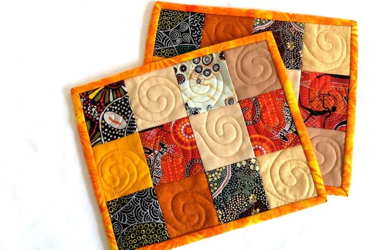 Set Of 2 Aboriginal Fabric Patchwork Quilted Mug Rugs Orange Etsy