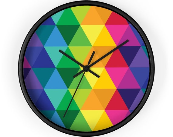 Modern Wall Clock Colorful Rainbow Design Large Wall Decor