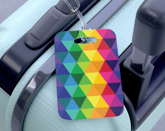 Colorful Bag Tag Bright Pattern Luggage and Travel Bag Accessories for Him or Her