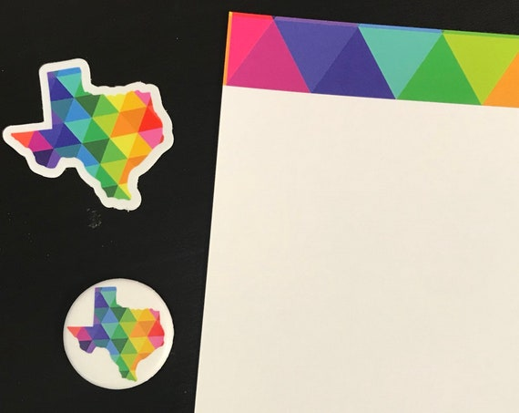 Texas Sticker Decal State of Texas Gifts Note Card and Button Gift Set