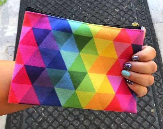 Rainbow Accessory Pouch Purse - Makeup Bag - Carry All Your Stuff Pencil Bag - Color Street Nails Bag