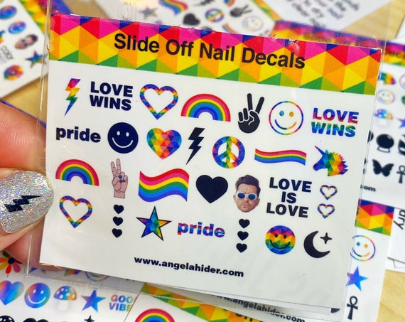 Rainbow Slide Off Nail Decals with Love Wins, Love is Love Pride, Smiley Faces, Unicorn, Peace, Hearts and More...