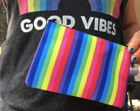 The Vivid Collection: Rainbow Striped Accessory Pouch - Rainbow Gift - Rainbow Pencil Case
