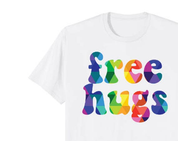 Colorful Free Hugs Tshirt Gift for Her or Him - Rainbow Gift