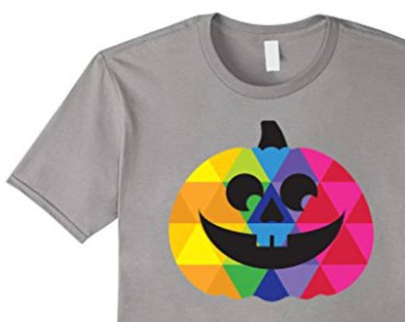 Colorful Happy Pumpkin T-shirt - Colorful Halloween Apparel - Unique Jack O'Lantern Tee - Halloween Gifts for Him or Her - Trick or Treat