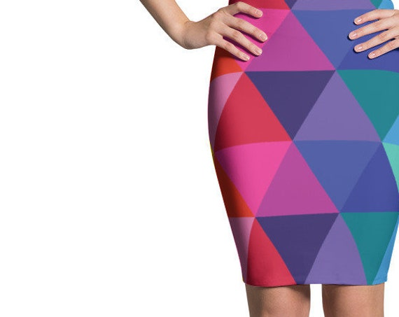 Colorful Pencil Skirt All the Colors fo the Rainbow Geometric Patter Triangles