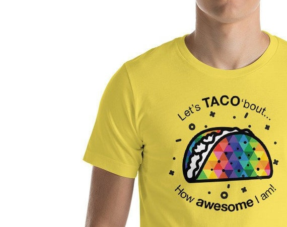 Short-Sleeve Unisex Colorful Taco T-Shirt Let's TACO 'bout it Tee is for Everyone Who Loves Tacos