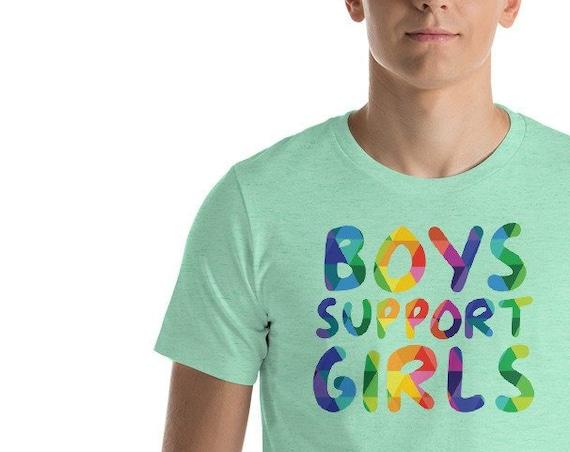 Short-Sleeve Unisex T-Shirt Boys Support Girls Tshirt and Girls Support Girls Too