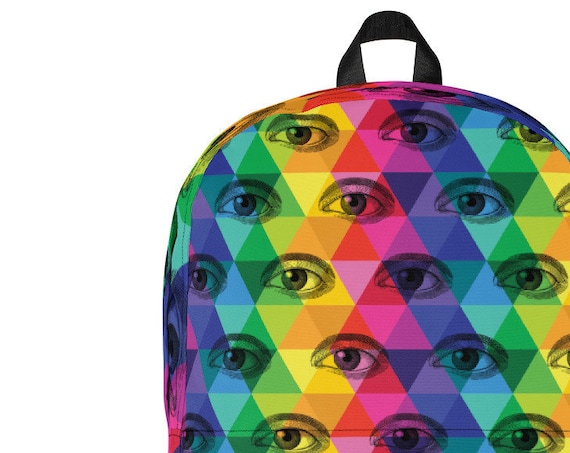 Eyeball Backpack Colorful Third Eye Rainbow Bag