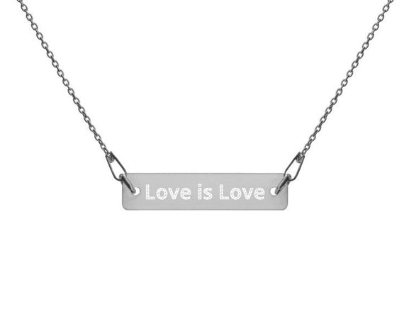 Love is Love Engraved Silver Bar Chain Necklace