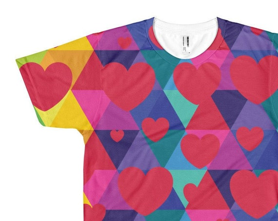 Colorful Valentines Heart Short sleeve men's t-shirt for Valentines