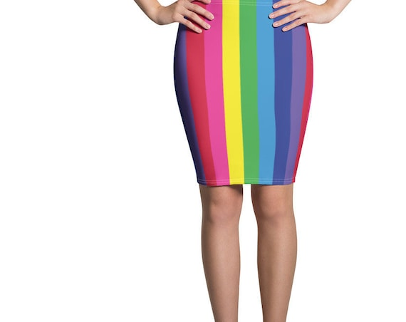 The Vivid Collection: Rainbow Striped Pencil Skirt