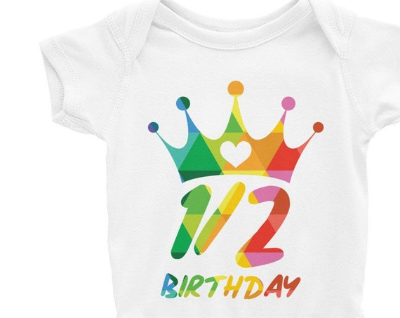 Baby Half Birthday Bodysuit Baby 1/2 Birthday One-piece 6 Months Old
