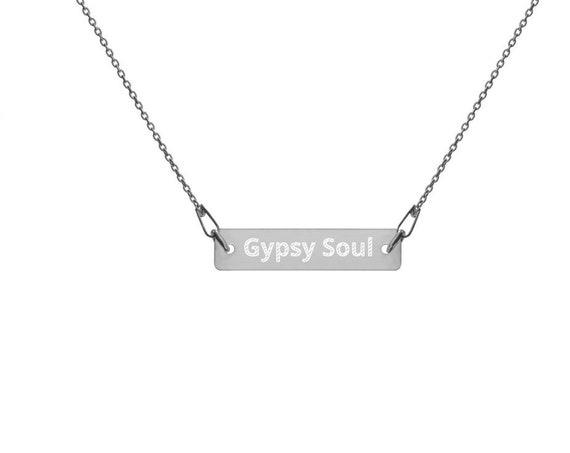 Gypsy Soul Engraved Silver Bar Chain Necklace