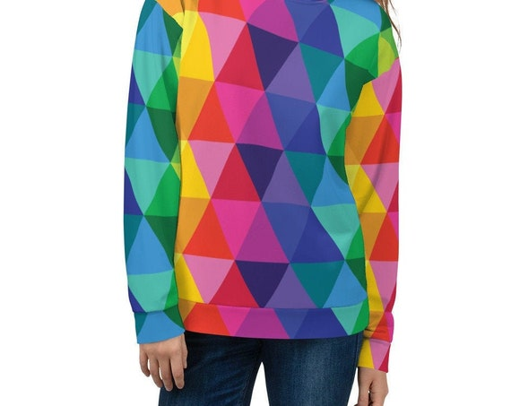 The Unicorn Sweatshirt! It's a Colorful Rainbow Unisex Sweatshirt with Geometric Multicolor Designs This Pullover Shirt is a Clothing Gift