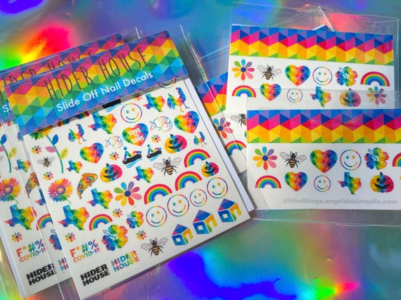 Slide On Nail Decals with Rainbows, Smiley Faces, Flowers and More...