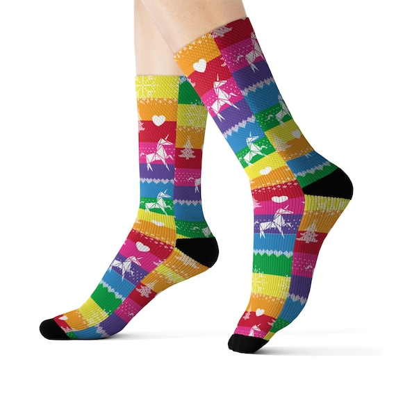 The Candy Christmas Sweater Socks with Unicorns and Rainbow Colors - Multi Striped Socks - Stocking Suffers - White Elephant Gift- Cozy Fun