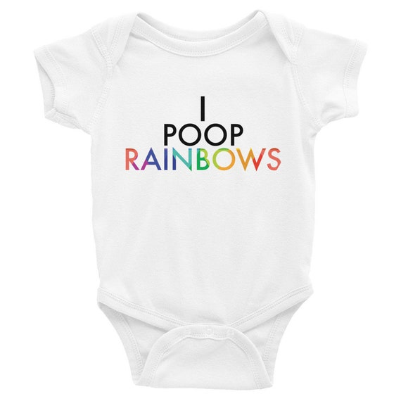 Infant Bodysuit - I Poop Rainbows One-piece Snapsuit for Baby Shower Gift for Mom