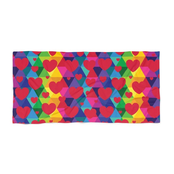 Colorful Red Hearts Towel for Your Valentine for the Beach or as a Gift and All the Rainbow Lovers Out There