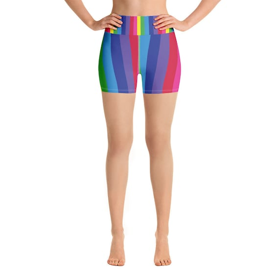 The Vivid Collection: Rainbow Yoga Shorts