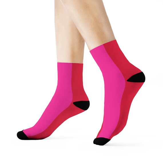Red + Pink Two Toned Crew Socks