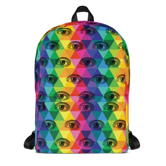 Eyeball Backpack Colorful Third Eye Rainbow Bag