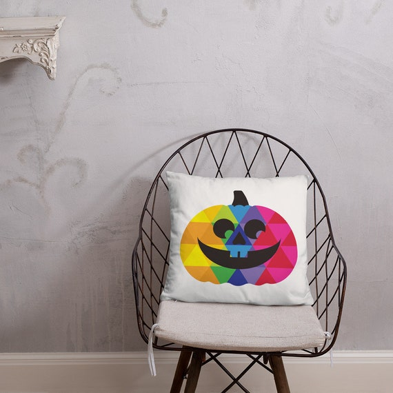 Double Sided Halloween Pumpkin Pillow Decoration for Your Party of Ghouls and Goblins on Your Couch Rainbow Pumpkin Head Gift