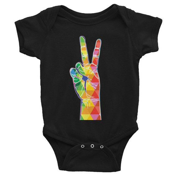 Infant Bodysuit Colorful Peace Sign One-piece Short Sleeve Peace Fingers Jumpsuit for Baby Snapsuit