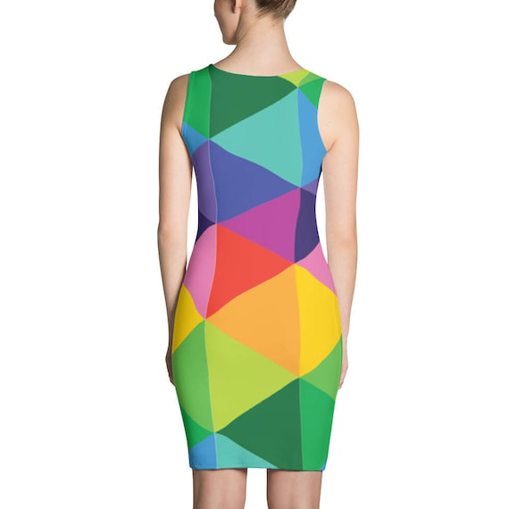 Rainbow Dress - Artisti Dress - Print Dress - Fitted Dress - Colorful Dress - Abstract Dress - Triangle Dress - Womens Dress - Sexy Dress