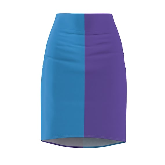 Blue + Purple Two Toned Women's Pencil Skirt