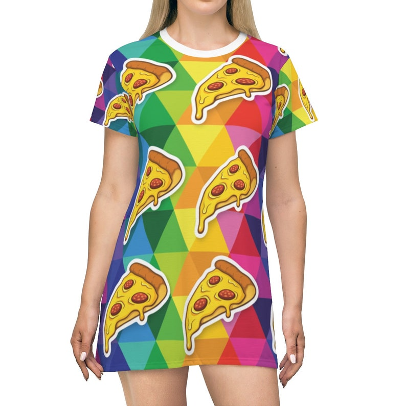 Graphic Tshirt Top Women/'s Rainbow Dress Apparel for Pizza Lovers Pizza T-shirt Dress