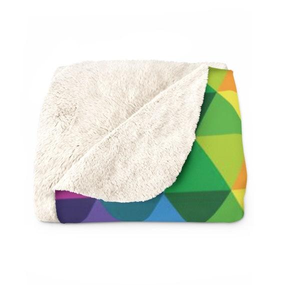 Cozy Sherpa Fleece Blanket - The Colorful Kaleidoscope Blanket - Rainbow Throw Blanket - Cozy Plush Blanket