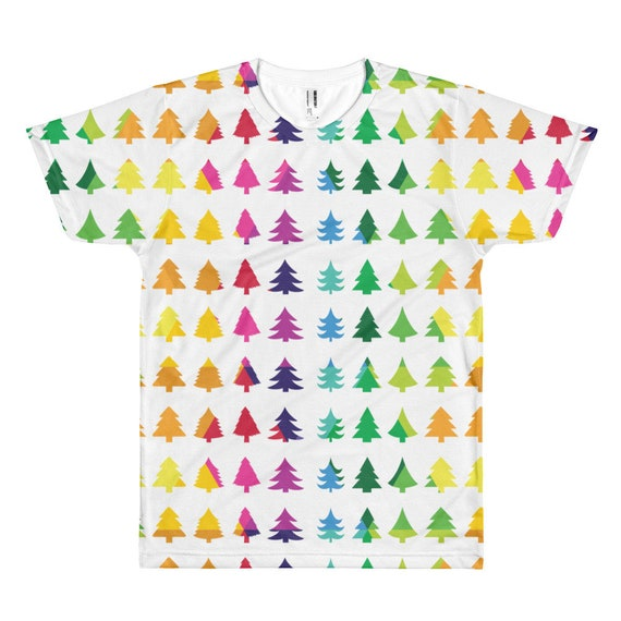 Christmas Tree Tshirt Short Sleeve T-shirt Merry Christmas Tee Xmas Fun Gift Happy Holidays Shirt Rainbow Christmas White Background