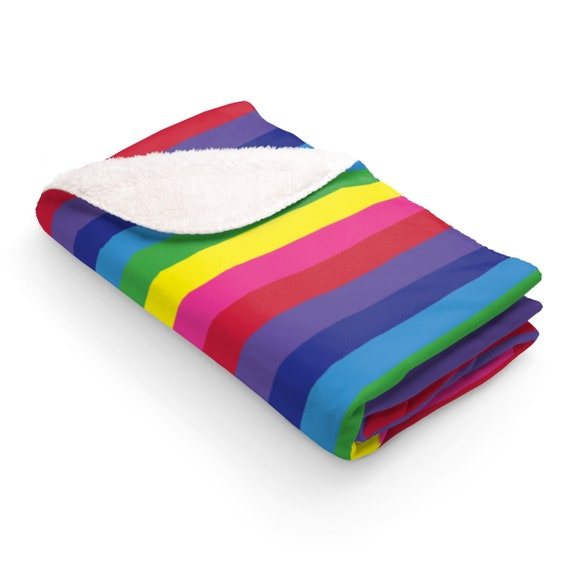 The Vivid Collection: Rainbow Striped Sherpa Fleece Blanket