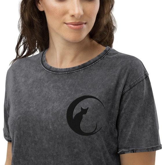 Divine Feline Magick Denim T-Shirt - Black Cat Tshirt