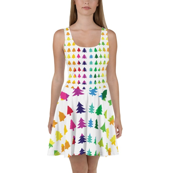 Ladies Christmas Tree Dress Holiday Outfit Women's Skater Dress Soft Comfortable Rainbow Dress White Present