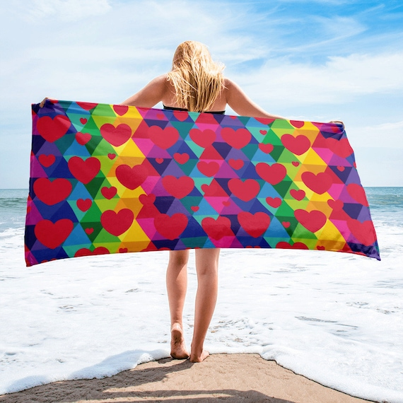 Colorful Red Heart Towel
