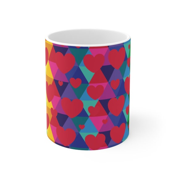Colorful Hearts White Ceramic Mug Rainbow Love Gift