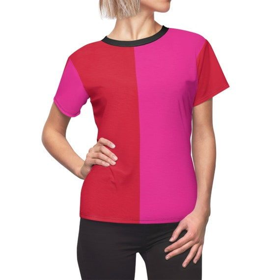 Red + Pink Two Toned Women's Cut & Sew Tee - Color Block Shirt