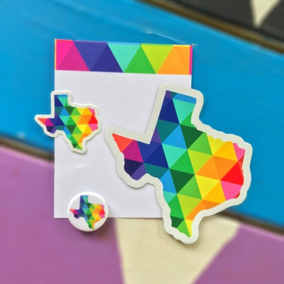 Texas Magnet and Sticker Decal State of Texas Gifts Note Card and Button Gift Set