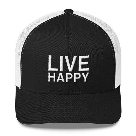 Trucker Cap Inspirational Cap Cool Gift Baseball Cap Live A Happy Life Custom Cap Hat