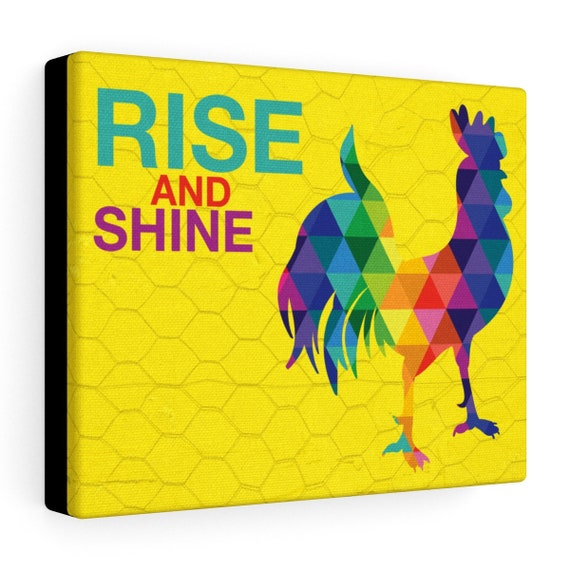 The Rockin' Rainbow Rooster Stretched Canvas